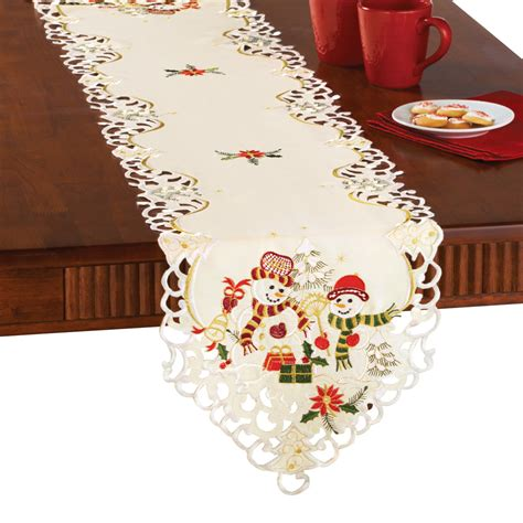Snowman Couple Christmas Table Linens, By Collections Etc