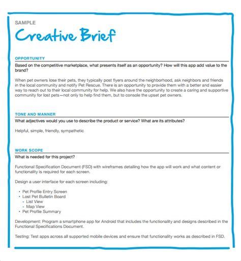 Free 9 Sample Creative Brief In Pdf Ms Word