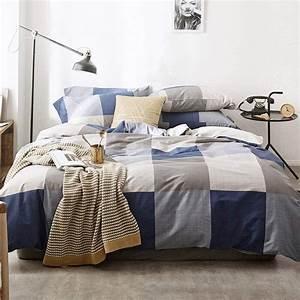 Best, Modern, Geometric, Plaid, Navy, Blue, Bedding, Queen, Comforter, Set