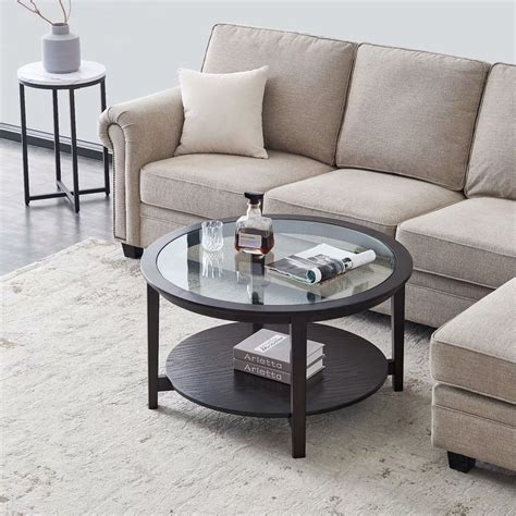 """The most common round glass coffee table material is glass. Enkeeo Modern Solid wood round coffee table with tempered glass top 36"""",black - Walmart.com ..."""