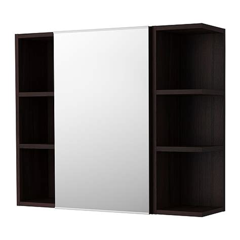lill 197 ngen mirror cabinet 1 door 2 end units black brown