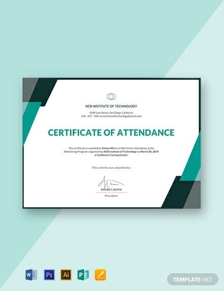 attendance certificate templates  ready