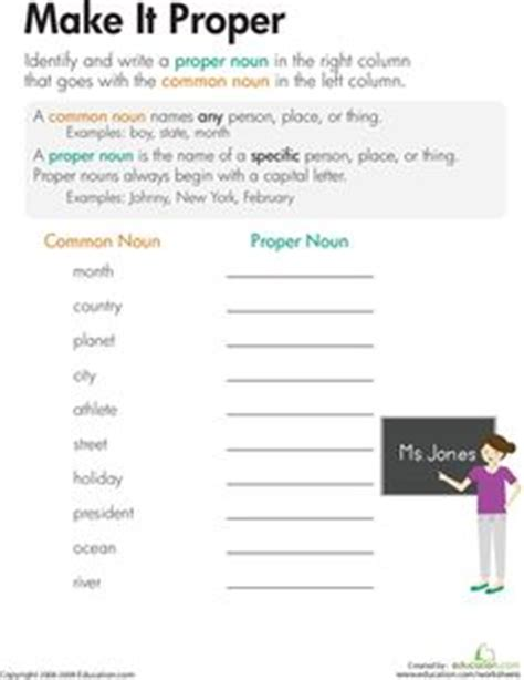 common and proper nouns matching worksheet free on tpt