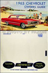 1963 Chevrolet Car Reprint Owner Manual Impala  Ss