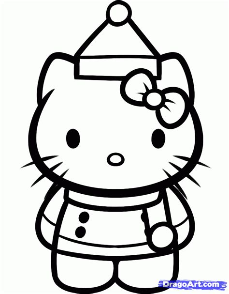 Awesome Hello Kitty Merry Christmas Coloring Pages