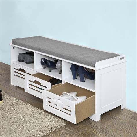 sobuy 174 commode 224 chaussure meuble d entr 233 e banc de rangement 3 cubes fsr36 w fr ebay