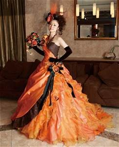 Best wedding ideas brightly with romantic orange wedding for Black and orange wedding dresses