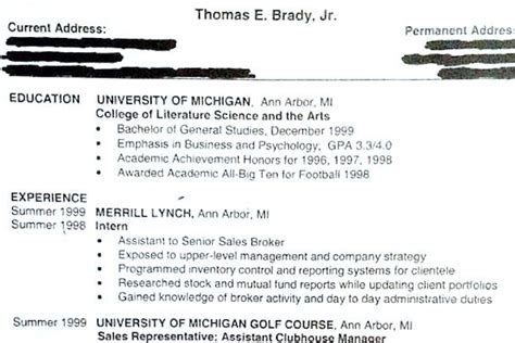 Tom Brady Resume Tfm by Tom Brady Resume Circa 1999 Shows What Might Been
