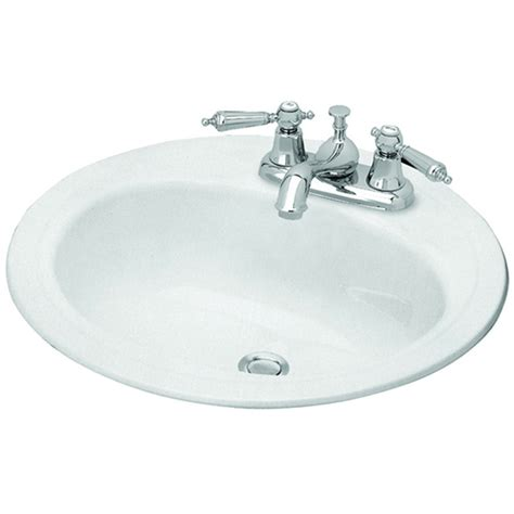 drop in bathroom sink replacement shop briggs homer white enameled steel drop in round