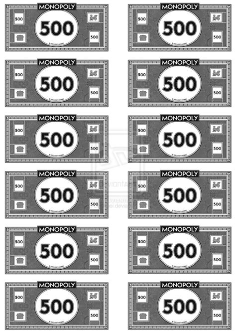 monopoly money template monopoly money 500 s by leighboi on deviantart