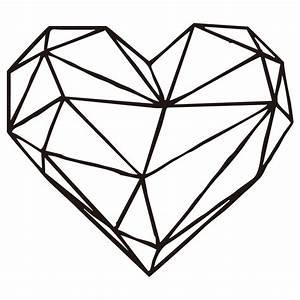 Geometric Heart Wall Decal Art Design Removable Love Heart