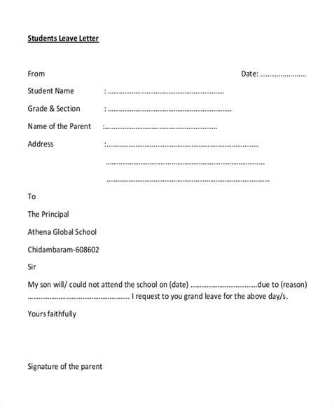 format  formal letter  leave letters  sample