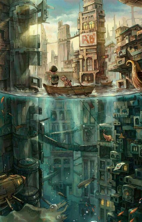 underwater city fantasy sci fi industrial futuristic fairy tale animation art