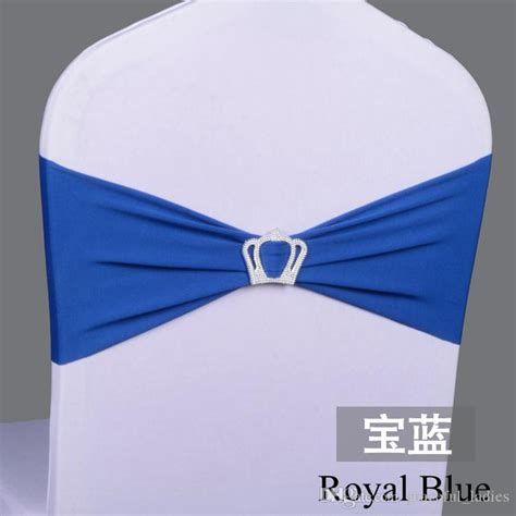 2018 royal blue spandex chair bands with buckle wedding