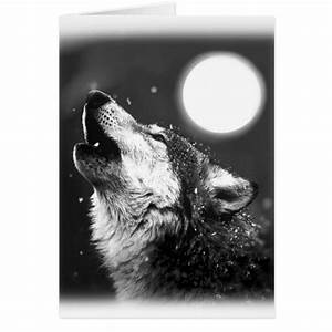 Black & White Wolf Howling at Moon Greeting Card | Zazzle