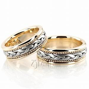 Hh hm003 14k gold braided elegant hand woven wedding band set for Woven wedding ring