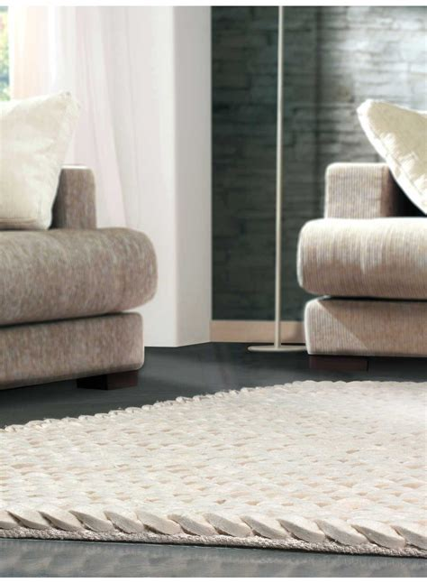 tapis de salon tresse highland blanc de la collection angelo