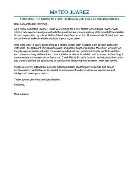 teacher cover letter examples livecareer