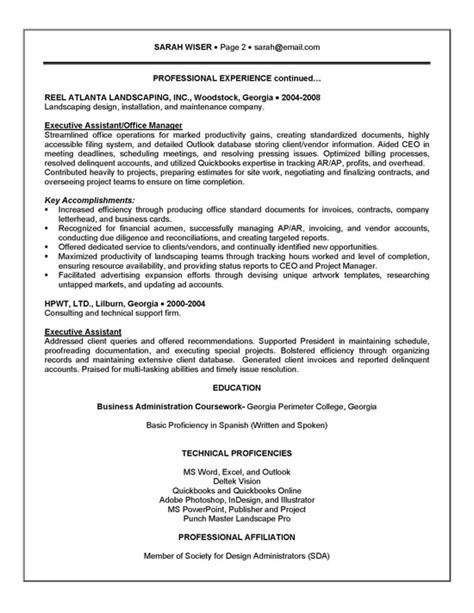 Executive Administrative Assistant Resume by Executive Assistant Resume Exle Sle