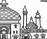 Mosque Coloring Drawing Minarets Getdrawings sketch template