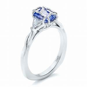 custom blue sapphire and diamond three stone engagement ring With wedding rings with blue stones