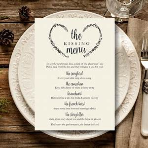 Kissing Menu Printable, Wedding Kissing Menu Template ...