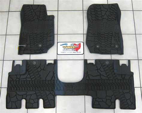 jeep jk floor mats mopar 2014 17 jeep wrangler jk unlimited all weather rubber