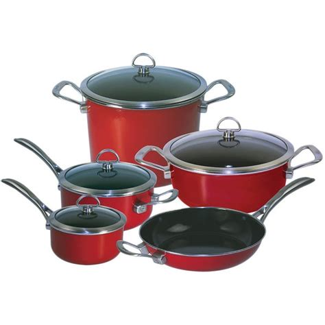 chantal   chili red copper fusion  piece cookware set  overstockcom shopping