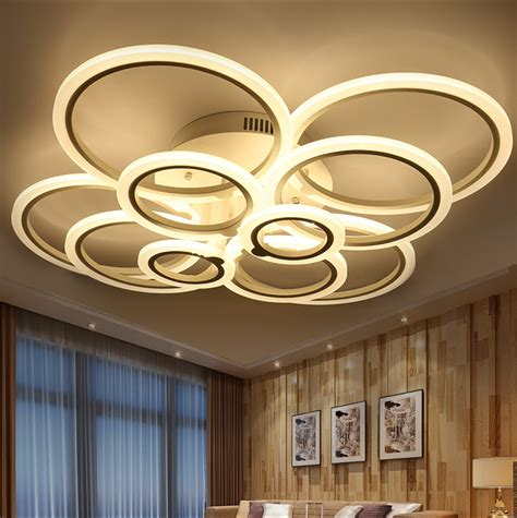 Led Ceiling Light Fixture by White Modern Acrylic Led Ceiling Light Fixture Ring Lustre