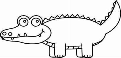 Crocodile Alligator Cartoon Clipart Alligators Outline Drawing