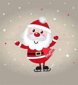 Cute Cartoon Christmas Santa Claus on Snowing Back by ...