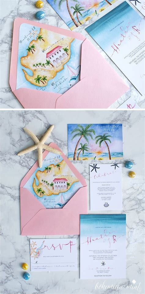 Raspberry and mint bohemian wedding bouquets. Watercolor beach wedding invitations with a custom ...
