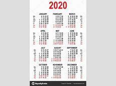 Szablonu siatki kalendarza 2020 — Grafika wektorowa