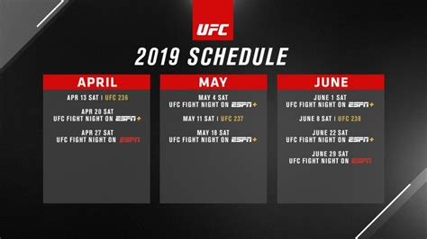 ufc schedules  fight night   espn espn