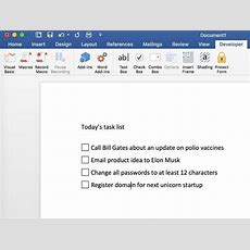 Two Ways To Add Checkbox Controls To A Word Document Techrepublic