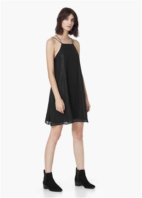flowy dresses lyst mango glitter flowy dress in black