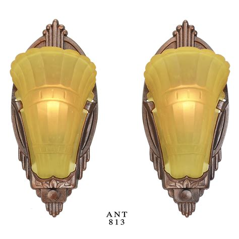 antique art deco ls art deco pair of antique wall sconces slip shade 1930s