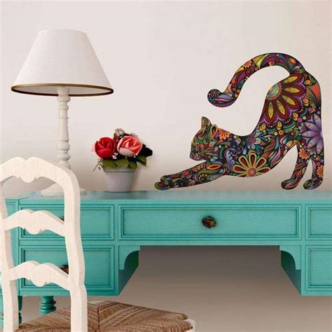 stretching cat wall sticker repositionable floral cat