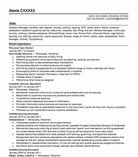 Sle Resume For Personal Care Worker by Personal Care Worker Resume Sle Worker Resumes