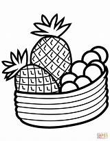 Pineapple Coloring Bowl Fruits Fruit Pages Drawing Clip Printable Pineapples Getdrawings Paper Section Vegetables Categories sketch template