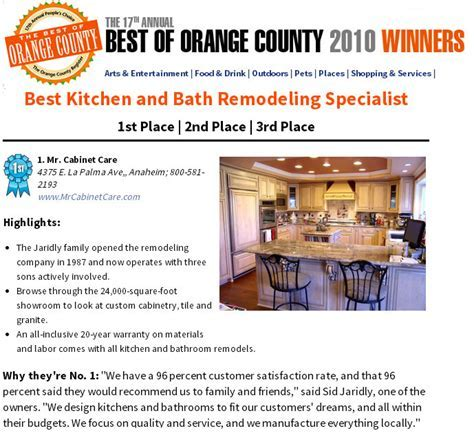 Mr. Cabinet Care Voted #1 Kitchen Remodeling Specialist in
