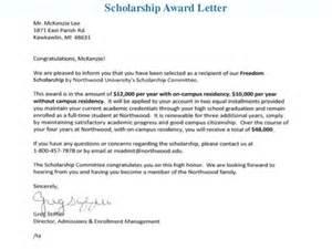 Scholarship Award Letter Sample