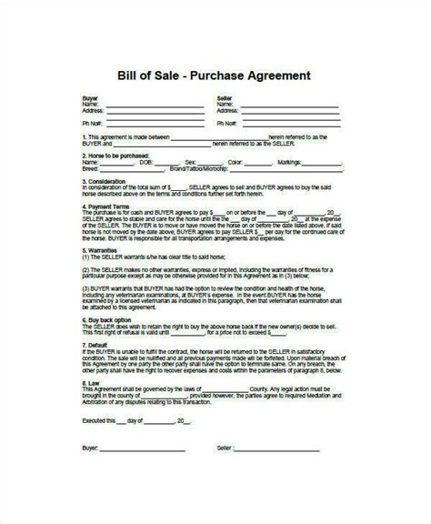 horse bill  sale examples  word