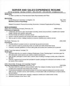 Cocktail Waitress Resume Objective by Waitress Resume Exle Exles Of Bartending Resumes