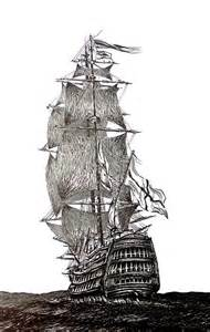 Pen and Ink Pirate Ship Drawings