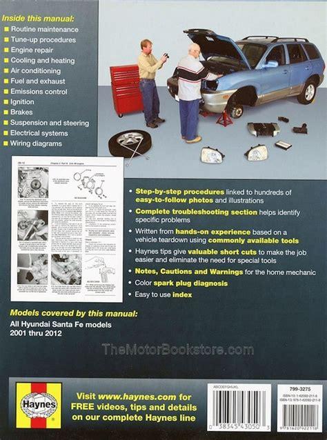 motor auto repair manual 2012 hyundai santa fe instrument cluster hyundai santa fe repair workshop manual 2001 2012 haynes 43050