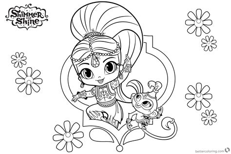 Shimmer And Shine Coloring Pages Shimmer And Pet