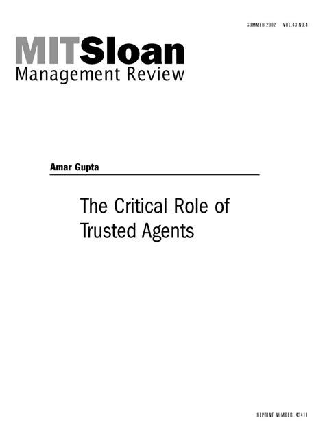 The Critical Role of Trusted Agents - MIT SMR Store