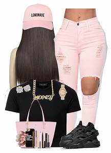 Pants pink jeans ripped jeans polyvore black crop top nike nike shoes nike air huarache ...