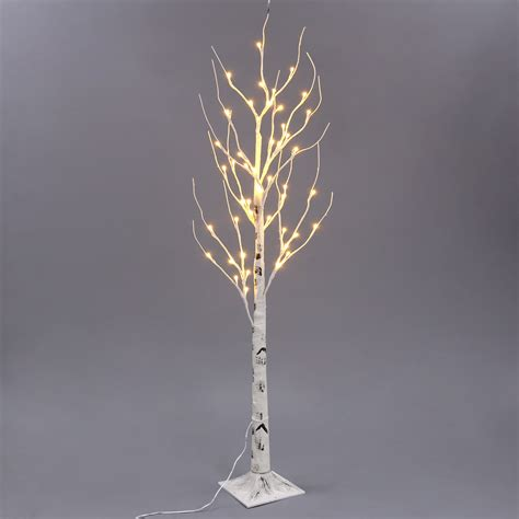 lighted branch tree 1 2m 4ft 48 led warm white birch twig tree light